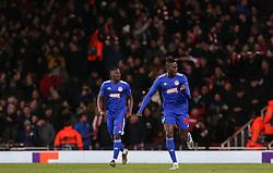 Pape Abou Cisse of Olympiacos celebrates scoring to make it 0-1 - Mandatory by-line: Arron Gent/JMP - 27/02/2020 - FOOTBALL - Emirates Stadium - London, England - Arsenal v Olympiacos - UEFA Europa League Round of 32 second leg