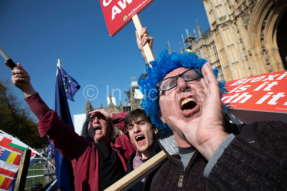Anti Brexit protesters shout Brexit slogans at the media towers opposite Parliament in Westminster on the day the EU agreed an extension to Article 50 until the end of October, on 11th April 2019 in London, England, United Kingdom. With just two days until the UK is supposed to be leaving the European Union, the delay decision awaits. (photo by Mike Kemp/In Pictures via Getty Images)