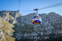 February 15, 2017 - Cape Town, Western Cape, South Africa - A cable car filled with passengers travels up to Table Mountain, located in Cape Town, South Africa. (Credit Image: © Edwin Remsberg / Vwpics/VW Pics via ZUMA Wire)