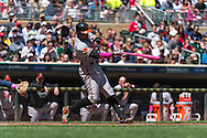 Adam Jones #10 of the Baltimore Orioles connects for a home run against the Minnesota Twins on May 12, 2013 at Target Field in Minneapolis, Minnesota.  The Orioles defeated the Twins 6 to 0.  Photo: Ben Krause