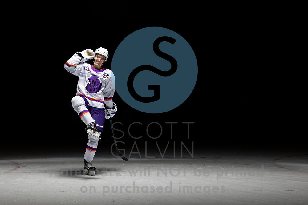 Youngstown Phantoms player photo shoot on April 14, 2021. <br /> <br /> Austen May, defenseman, 7