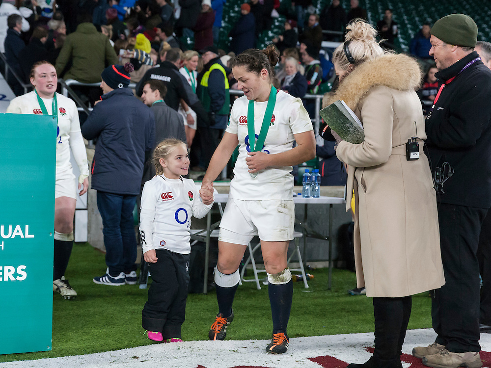 Emma Croker and daughter Lucy, England Women v Canada Women in an Old Mutual Wealth Series, Autumn International match at Twickenham Stadium, London, England, on 26th November 2016. Full time score 39-6
