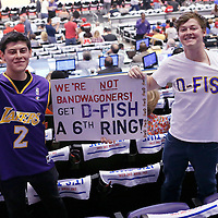 11 May 2014: Lakers fans are seen during the Los Angeles Clippers 101-99 victory over the Oklahoma City Thunder, during Game Four of the Western Conference Semifinals of the NBA Playoffs, at the Staples Center, Los Angeles, California, USA.