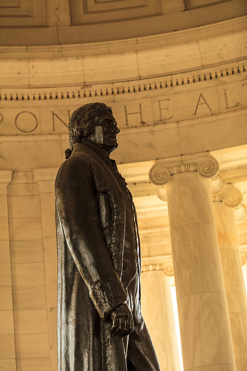 Washington, DC, USA - April 11, 2013: Washington, DC, USA - April 11, 2013: President Jefferson Statue at the Thomas Jefferson Memorial in Washington D C
