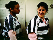 """01 NOVEMBER 1999  - PHOENIX, ARIZONA, USA: Members of the women chain gang in Maricopa County, Phoenix, AZ, joke around before they go out on the street to work. Maricopa county sheriff Joe Arpaio claims to have the only women's chain gang in the United States. He has been criticized for the chain gang but claims to be an """"equal opportunity incarcerator."""" He has said that if puts men on a chain gang he will also put women on a chain gang. The women are prisoners in the county jail and volunteer for duty on the chain gang because it gets them out of the jail for six hours a day. The chain gang cleans up public streets, removes graffiti and buries the county's homeless and indigents.   © Jack Kurtz  WOMEN   PRISON   CIVIL RIGHTS  SOCIAL ISSUES    POVERTY"""
