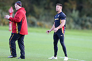 Rhys Webb of Wales ® has a joke with Neil Jenkins the Wales coach (l). Wales rugby team training at the Vale Resort, Hensol, Vale of Glamorgan, in South Wales on Thursday 3rd November 2016, the team are preparing for their match against Australia this weekend. pic by Andrew Orchard, Andrew Orchard sports photography