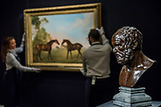 George Stubbs, Two bay hunters in a paddock 1789, est. £1.5-2 million - London Old Masters Evening sale exhibition at Sotheby's New Bond Street. The sale takes palce on 6 December 2017 covers 400 years of art history.