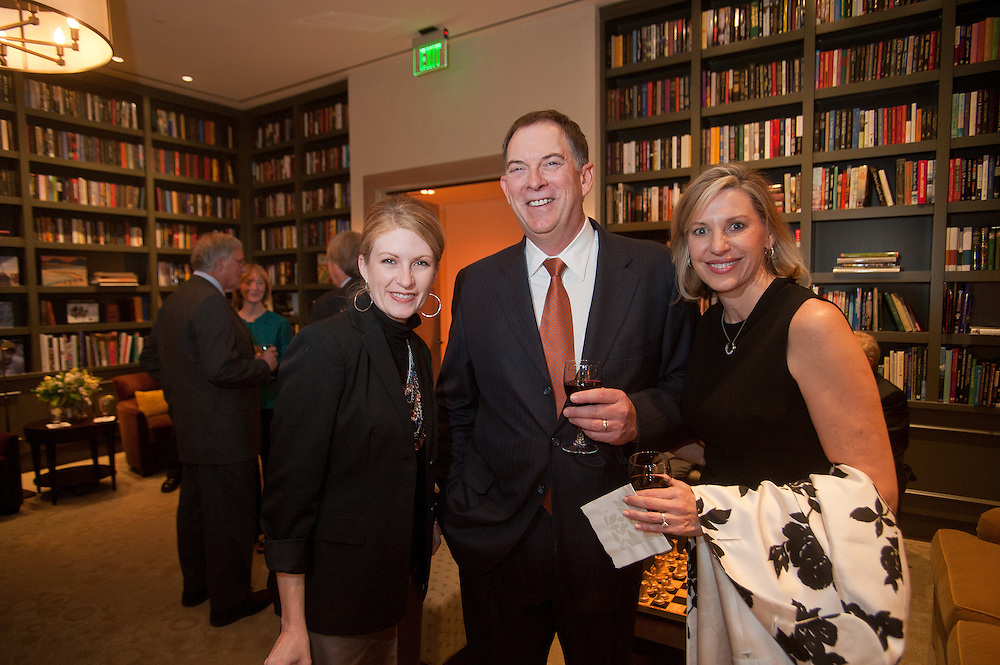 The Four Seasons Residences Austin hosted a party Friday night for current, future and prospective residents. Kimberly Chassay (L) and Lloyd and Mary Eisenrich joined other guests in the library.