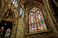 View of The Emperor Window, built in thanksgiving to the miraculous survival of emperor Franz Joseph I of Austria after he survived an attempted assassination, Votive (Votivkirche) Church, Vienna, Austria.