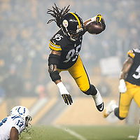 Pittsburgh Steelers outside linebacker Jarvis Jones (95) intercepts pass from Indianapolis Colts quarterback Matt Hasselbeck during the first quarter of the game at Heinz Field in Pittsburgh on December 6, 2015.  Photo by Shelley Lipton/UPI