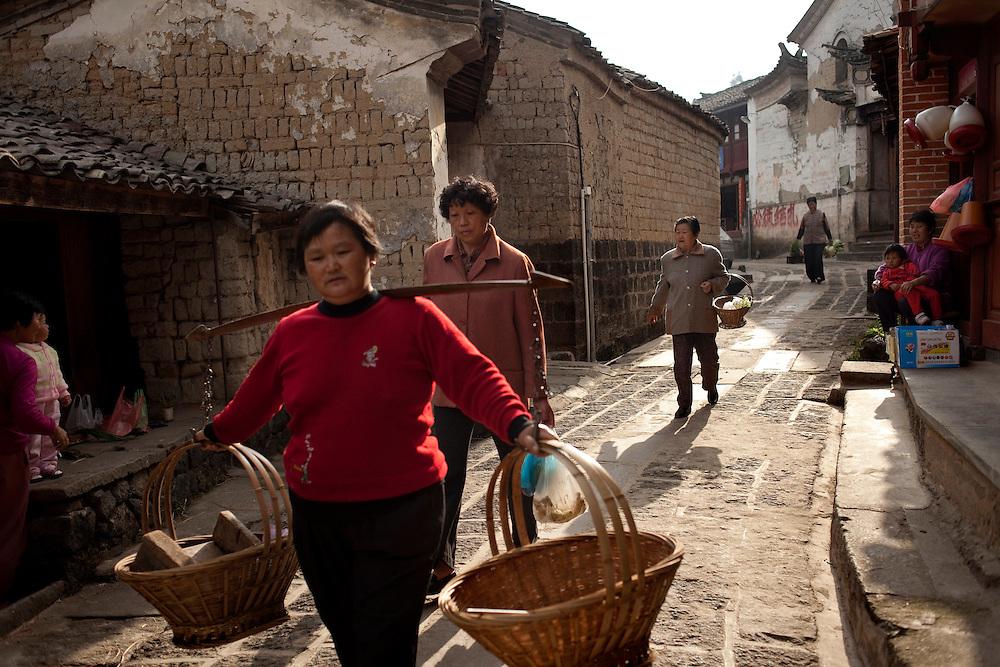 Street scene, Heshun town, Yunnan province, China.