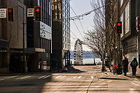 Union Street, adorned by the Seattle Art Museum to the left and Target department store to the right, leads the viewer's eye to Seattle's Great Wheel (the ferris wheel) along the waterfront. (March 21, 2020).