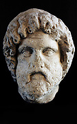 Marble head of a man with thick waving hair and deeply drilled curls. Identified as Asclepius. Made between late 2nd century and early 3rd century AD. Roman.