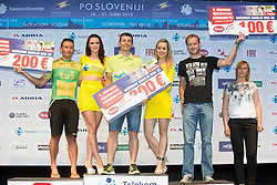 Mihael Vantur, winner Mitja Oter and Alen Stucin - Winners of Hervis's recreational Time Trial during flower ceremony after the Stage 1 of 22nd Tour of Slovenia 2015 - Time Trial 8,8 km cycling race in Ljubljana  on June 18, 2015 in Slovenia. Photo by Vid Ponikvar / Sportida