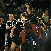 New Zealand players celebrate their victory during the Australia V New Zealand Final match at the IRB Junior World Championships in Argentina. New Zealand won the match 62-17 at Estadio El Coloso del Parque, Rosario, Argentina,. 21st June 2010. Photo Tim Clayton...