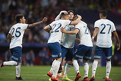 March 22, 2019 - Madrid, Madrid, Spain - Lautaro Martinez (Inter Milan) of Argentina celebrates after scoring his sides first goal whit Lionel Messi (Barcelona) and Giovani Lo Celso (Betis) during the international friendly match between Argentina and Venezuela at Wanda Metropolitano Stadium in Madrid, Spain on March 22 2019. (Credit Image: © Jose Breton/NurPhoto via ZUMA Press)