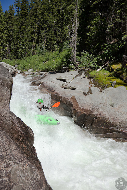 """""""Kayaker on Silver Creek 26"""" - This kayaker was photographed on Silver Creek - South Fork, near Icehouse Reservoir, CA."""