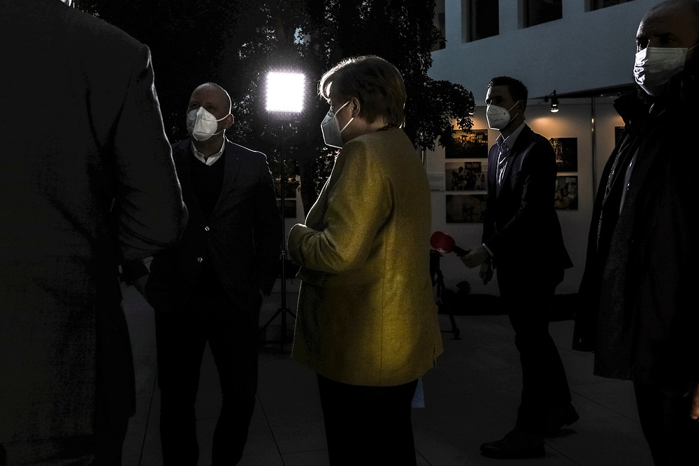 German Chancellor Angela Merkel arrives at the Federal Press Conference House to attend a press conference regarding the tightening of the lockdown, Berlin, Germany, January 21, 2021. In an 11 hour discussion the on January 19 Merkel and the heads of the 16 German federal states decided on the widening of the health restrictions meant to deal with the spread of the coronavirus, the lockdown will remain at hand until mid February.