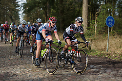 Lisa Klein and Julia Soek over the early cobbles at Ronde van Drenthe 2017. A 152 km road race on March 11th 2017, starting and finishing in Hoogeveen, Netherlands. (Photo by Sean Robinson/Velofocus)