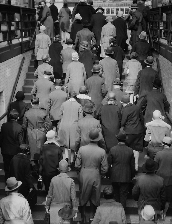 People Ascending Stairs to Exit a Subway Station, Berlin, 1925
