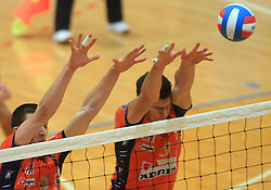 Mitja Gasparini and Davor Cebron  at finals of Slovenian volleyball cup between OK ACH Volley and OK Salonit Anhovo Kanal, on December 27, 2008, in Nova Gorica, Slovenia. ACH Volley won 3:2.(Photo by Vid Ponikvar / SportIda).