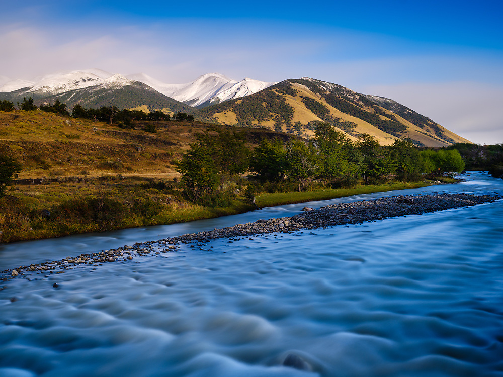 NATIONAL PARK LOS GLACIARES, ARGENTINA - CIRCA FEBRUARY 2019: Stream of water close to the National Park los Glaciares in Argentina.