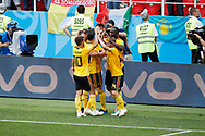 Romelu Lukaku of Belgium celebrates after scoring with teammates during the 2018 FIFA World Cup Russia, Group G football match between Belgium and Tunisia on June 23, 2018 at Spartak Stadium in Moscow, Russia - Photo Tarso Sarraf / FramePhoto / ProSportsImages / DPPI