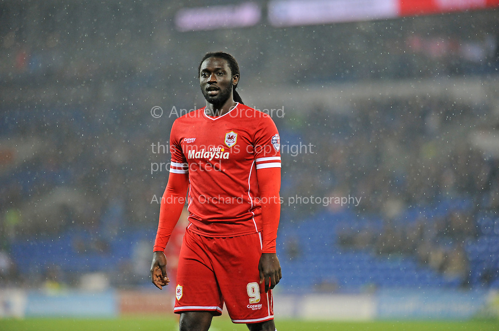 Kenwyne Jones of Cardiff City.<br /> Skybet football league championship match, Cardiff city v Reading at the Cardiff city stadium in Cardiff, South Wales on Friday 21st November 2014<br /> pic by Phil Rees, Andrew Orchard sports photography.