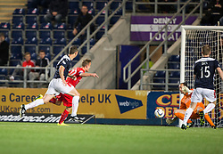 Rangers Dean Shiels scoring their second goal. Falkirk 1 v 3 Rangers, Scottish League Cup game played 23/9/2014 at The Falkirk Stadium.