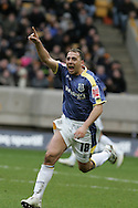 Coca Cola championship, Wolverhampton Wanderers v Cardiff City on Sunday 22nd Feb 2009 . pic by Andrew Orchard, Andrew Orchard sports photography, Cardiff's Michael Chopra  celebrates his goal after scoring to make it 1-1