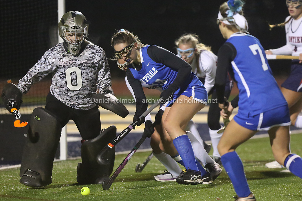 (11/14/19, SHREWSBURY, MA) Hopedale's Carly Smith takes a shot that is deflected during the Division 2 state semifinals against Frontier at Shrewsbury High School on Thursday. [Daily News and Wicked Local Photo/Dan Holmes]