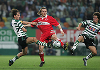 PORTUGAL - LISBOA 17 MARCH 2005: PEDRO BARBOSA #8 , BOUDEWIN ZENDEN #32 and JOAO MOUTINHO #28 in the UEFA Cup knockout phase, match Sporting CP (0) vs Middlesbrough FC (0), held in Alvalade 21 stadium.  17/03/2005  22:21:14<br />(PHOTO BY: GERARDO SANTOS/AFCD)<br /><br />PORTUGAL OUT, PARTNER COUNTRY ONLY, ARCHIVE OUT, EDITORIAL USE ONLY, CREDIT LINE IS MANDATORY AFCD-PHOTO AGENCY 2004 © ALL RIGHTS RESERVED