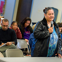 010413     Brian Leddy<br /> Irma Davis speaks to the Navajo Nation Human Rights Commission Friday morning about her experience in dealing with the Corley Auto dealership. About 70 people attended the meeting.