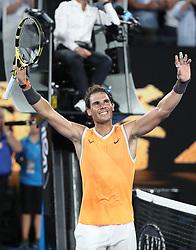 MELBOURNE, Jan. 16, 2019  Rafael Nadal of Spain celebrates after the men's singles second round match against Matthew Ebden of Australia at the Australian Open in Melbourne, Australia, Jan. 16, 2019. (Credit Image: © Bai Xuefei/Xinhua via ZUMA Wire)