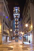 Elevator Elevador de Santa Justa. Street view. Augusta street. Lisbon, Portugal