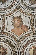 Picture of a Roman mosaics design depicting Aion and the Four Seasons, from the ancient Roman city of Thysdrus. 3rd century AD. El Djem Archaeological Museum, El Djem, Tunisia. .<br /> <br /> If you prefer to buy from our ALAMY PHOTO LIBRARY Collection visit : https://www.alamy.com/portfolio/paul-williams-funkystock/roman-mosaic.html . Type - El Djem - into the LOWER SEARCH WITHIN GALLERY box. Refine search by adding background colour, place, museum etc<br /> <br /> Visit our ROMAN MOSAIC PHOTO COLLECTIONS for more photos to download as wall art prints https://funkystock.photoshelter.com/gallery-collection/Roman-Mosaics-Art-Pictures-Images/C0000LcfNel7FpLI