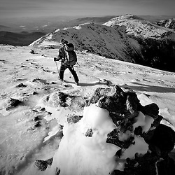 Winter hiker on Mount Washington in New Hampshire's White Mountains.