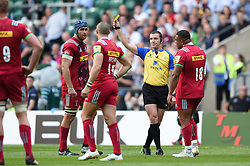 Mike Brown of Harlequins is shown a yellow card by referee Tom Foley - Mandatory byline: Patrick Khachfe/JMP - 07966 386802 - 02/09/2017 - RUGBY UNION - Twickenham Stadium - London, England - London Irish v Harlequins - Aviva Premiership