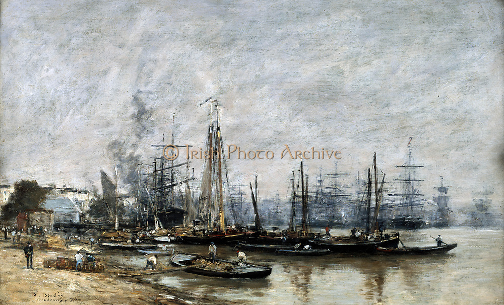 The Port of Bordeaux', 1874, oil on canvas. Eugene Boudin (1824-1898) French marine painter. Shipping at anchor.   In centre foreground men are loading or unloading a lighter.