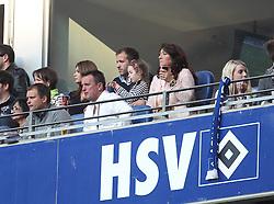 19.04.2014, Imtech Arena, Hamburg, GER, 1. FBL, Hamburger SV vs VfL Wolfsburg, 31. Runde, im Bild Zuschauer: Sabia Boulahrouz (Lebensgefaehrtin von Rafael, hinten), Ramon van der Vaart (Vater / vorne 2. von links), Rafael van der Vaart (Mittelfeld / HSV / n23, Mitte hinten), Lolita van der Vaart (Mutter) // during the German Bundesliga 31th round match between Hamburger SV and VfL Wolfsburg at the Imtech Arena in Hamburg, Germany on 2014/04/19. EXPA Pictures © 2014, PhotoCredit: EXPA/ Eibner-Pressefoto/ DAMM<br /> <br /> *****ATTENTION - OUT of GER*****