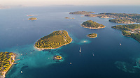 Aerial view of small islands and boats near Korcula island in Croatia.