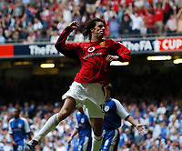 Ruud Van Nistelrooy Manchester United celebrates scoring 2nd goal<br />Manchester United v Millwall F/A Cup Final 22/05/04<br />Photo Robin Parker Fotosports International