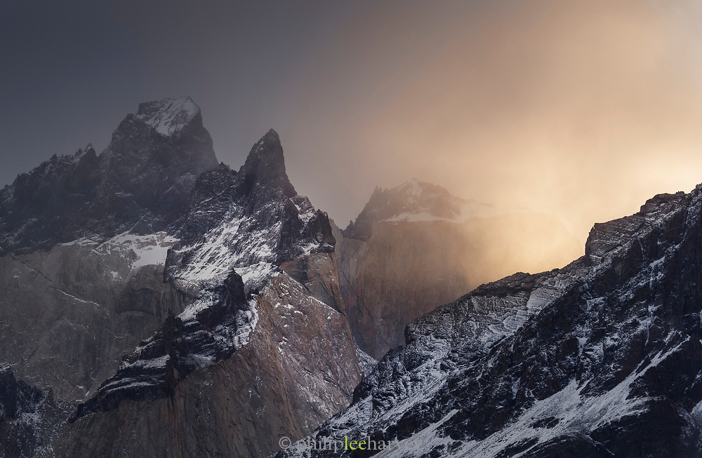 Snowcapped mountains in Torres del Paine National Park, Chile