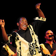 Ladysmith Black Mambazo member Ngane Dlamini performing at The Music Hall, Portsmouth, NH