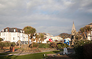 Park and gardens on the promenade in the seaside town of Ilfracombe, north Devon, England
