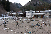 Members of the Japanese Self Defence Force begin recovery operations after the tsunami that struck Shiogoma on the north east coast of Japan on March 11th in Otsuchi, Iwate, Japan. March 17th 2011