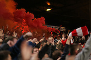 smoke bombs and Flare's are lit by Liverpool fans in the stand after Emre Can of Liverpool scores his sides 1st goal. Premier League match, Crystal Palace v Liverpool at Selhurst Park in London on Saturday 29th October 2016.<br /> pic by John Patrick Fletcher, Andrew Orchard sports photography.