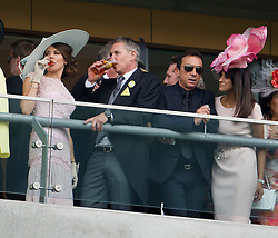 © London News Pictures. 18/06/2013. Ascot, UK.  Left to right - Danielle Lineker, Garry Lineker, Bruno Tonioli and Jackie St Clair attend day one of Royal Ascot at Ascot racecourse in Berkshire, on June 18, 2013.  The 5 day showcase event,  which is one of the highlights of the racing calendar, has been held at the famous Berkshire course since 1711 and tradition is a hallmark of the meeting. Top hats and tails remain compulsory in parts of the course. Photo credit should read: Ben Cawthra/LNP