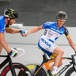 Nederlands Kampioenschap Koppelkoers elite Apeldoorn Wim Stroetinga en Jens Mouris werden kampioen vna Nederland voor Melvin van Zijll/Didier Kaspers en Barry Markus/Pim Ligthhart