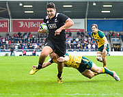 New Zealand wing Peter Umaga-Jensen evades a tackle to break away and score during the World Rugby U20 Championship 5rd Place play-off  match Australia U20 -V- New Zealand U20 at The AJ Bell Stadium, Salford, Greater Manchester, England on Saturday, June  25  2016.(Steve Flynn/Image of Sport)